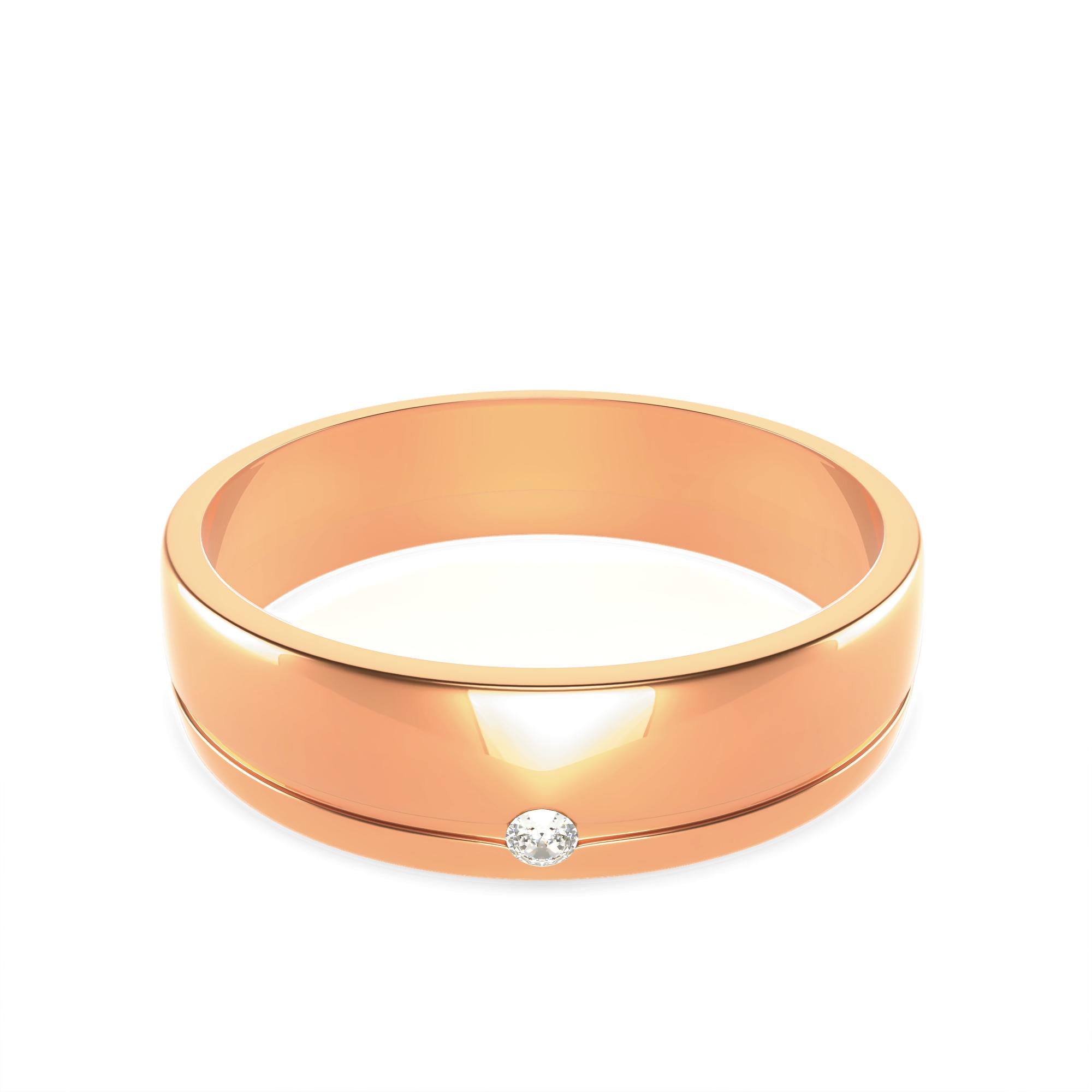 Сватбени халки с диамант на дамската халка.
