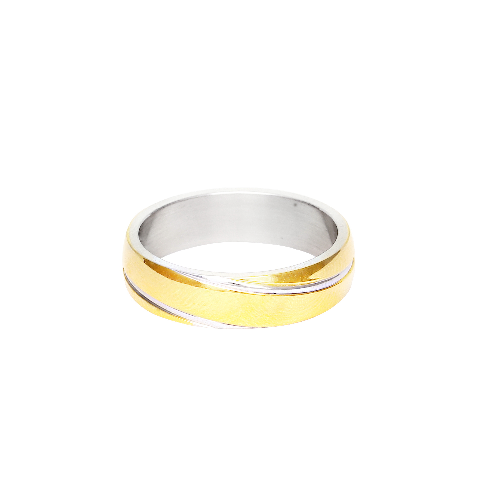 Мъжка сватбена халка от бяло и жълто злато с диагонални декоративни елементи.