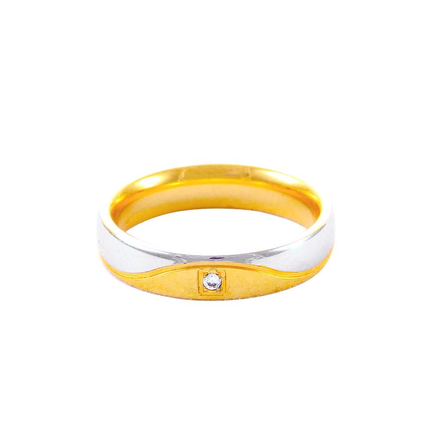 Дамска златна сватбена халка с диамант и вълнист декоративен елемент от бяло злато.