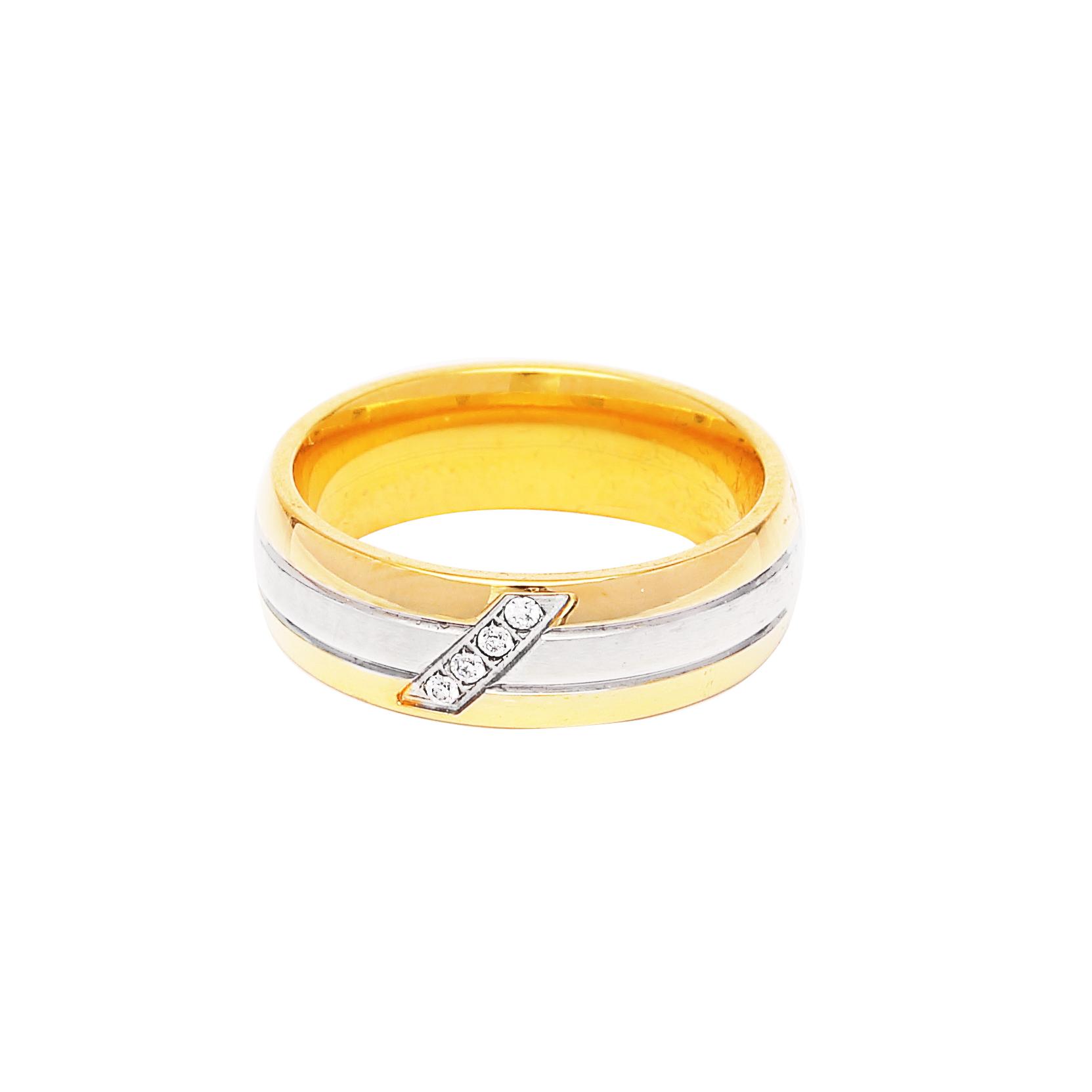 Дамска златна сватбена халка с ивица от бяло злато и 4 диаманта.