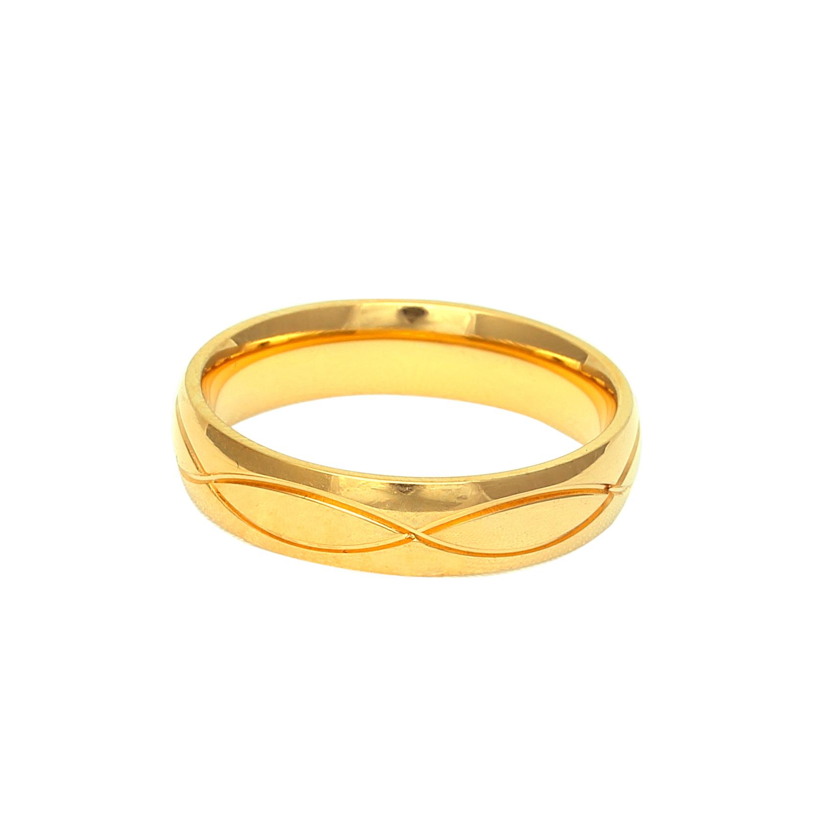 Мъжка златна сватбена халка с релефна декоративна плетеница