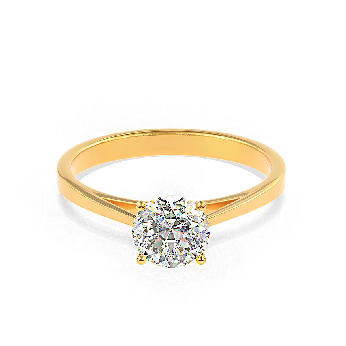 Златен годежен пръстен Infinity с диамант.