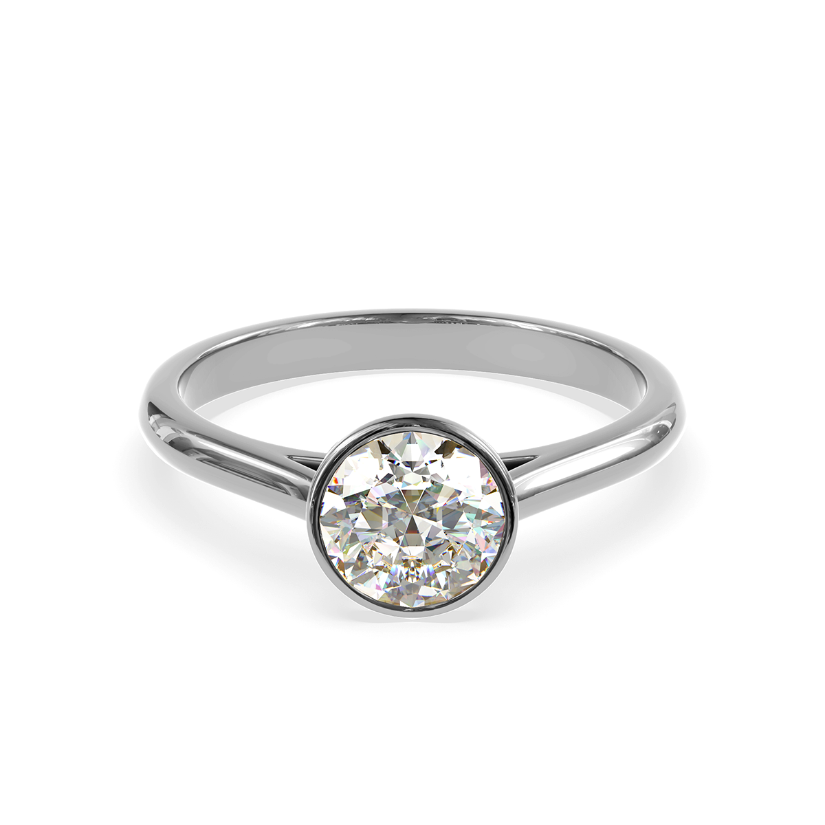 Златен годежен пръстен Lumina от бяло злато с диамант.