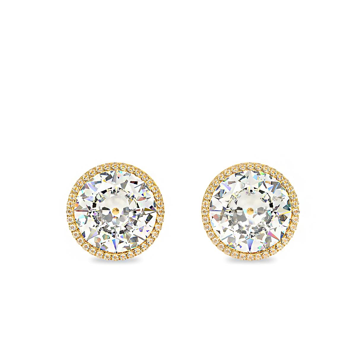 Златни диамантени обеци с голям централен диамант и малки диамантчета по периферията.