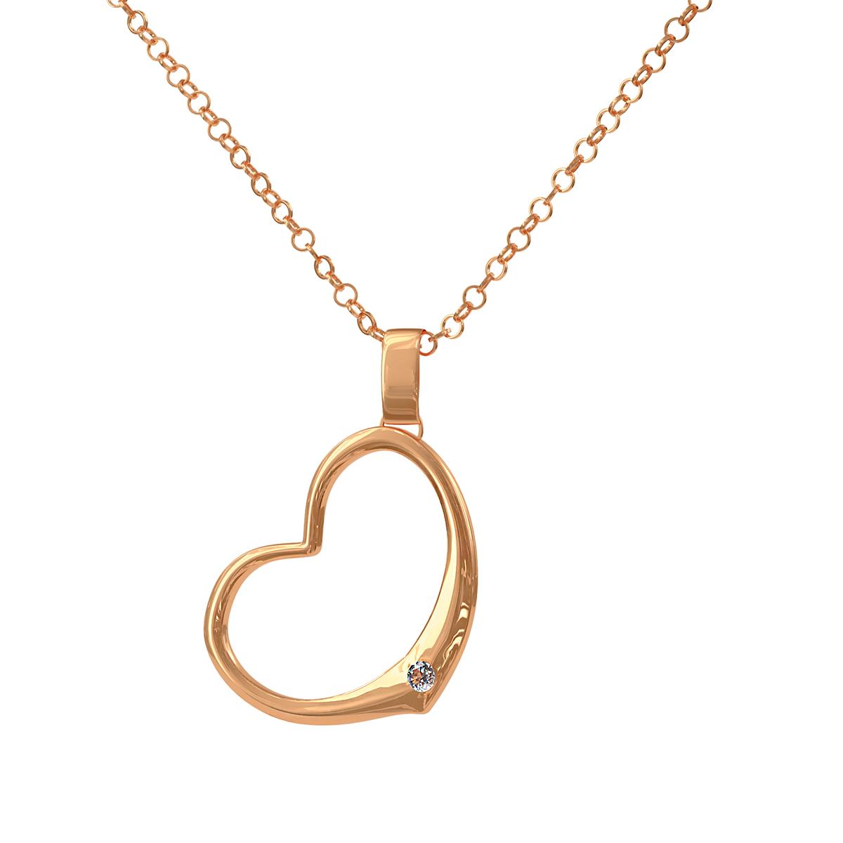 Златно колие във формата на сърце от розово злато, с инкрустиран диамант.