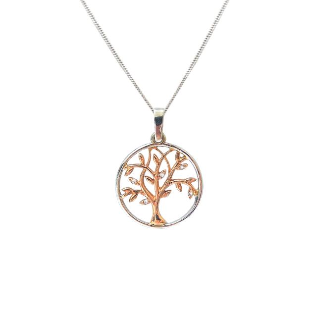 Диамантено златно колие Дърво на живота с красиво инкрустирани диаманти  , изработено от розово и бяло злато.