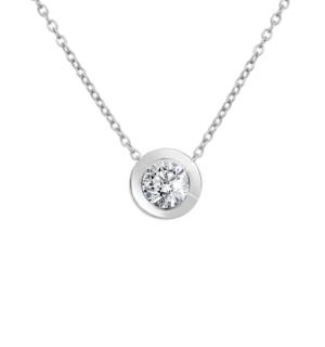 Диамантено колие Aria - кръгла висулка с централен диамант.