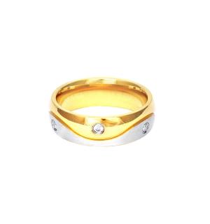 Дамска сватбена халка от бяло и жълто злато, инкрустирана с диаманти
