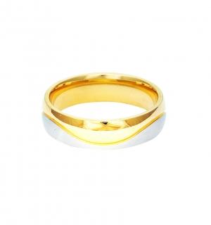 Мъжка златна сватбена халка с вълнист елемент от бяло злато.