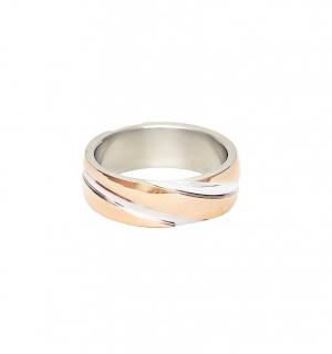Дамска сватбена халка от бяло и розово злато с диагонални декоративни елементи.