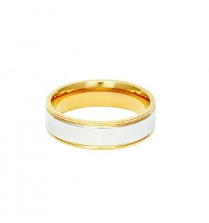 Мъжка златна сватбена халка с бял декоративен елемент.