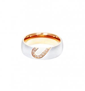 Дамска сватбена халка от бяло злато с полусърце от розово злато и диаманти.