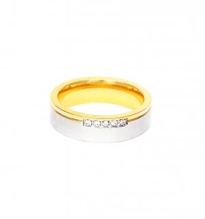 Дамска златна сватбена халка с ивица от бяло злато и пет диаманта.