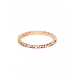 Дамска сватбена халка от розово злато и диаманти.