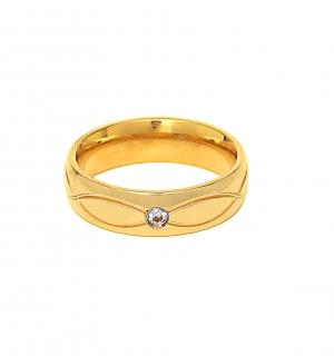Дамска златна сватбена халка с диаманти и релефна декоративна плетеница.