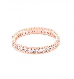 Елегантна дамска сватбена халка от розово злато и диаманти по целия периметър.