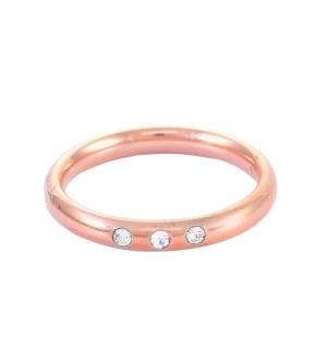 Елегантна дамска сватбена халка от розово злато, инкрустирана с 3 диаманта.