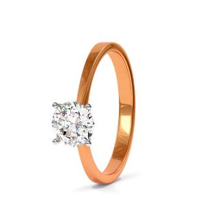 Годежен пръстен от розово злато и диамант с обков от бяло злато, модел Rock her.