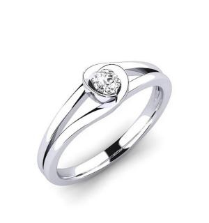 Златен годежен пръстен с диамант в обков, роза, цвете