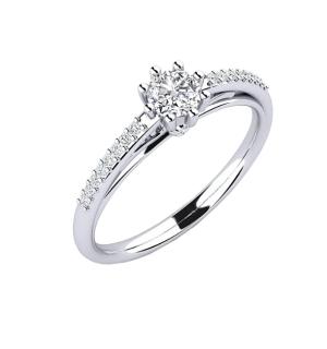 Диамантен годежен пръстен с един централен камък и диамантен обков по периферията.