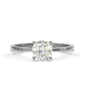 Годежен пръстен от бяло злато с един централен диамант.