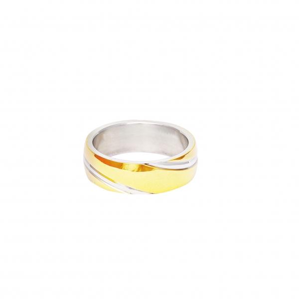 Дамска сватбена халка от бяло и жълто злато.