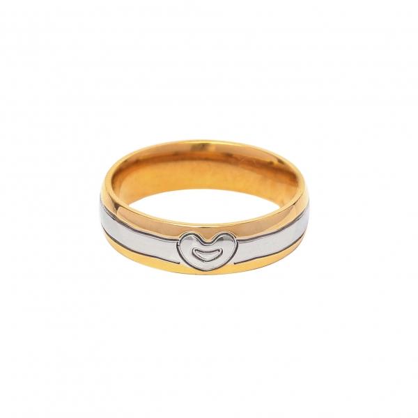 Дамска златна сватбена халка с вълниста ивица и сърце от бяло злато.