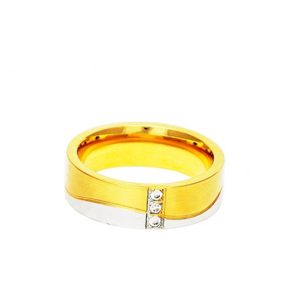 Дамска златна сватбена халка с вълнист елемент от бяло злато и три диаманта.
