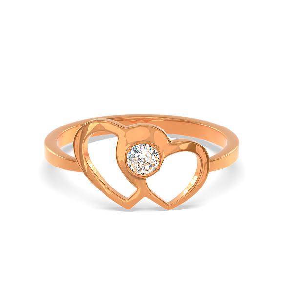 Елегантен пръстен от розово злато с две вплетени сърца и диамант.
