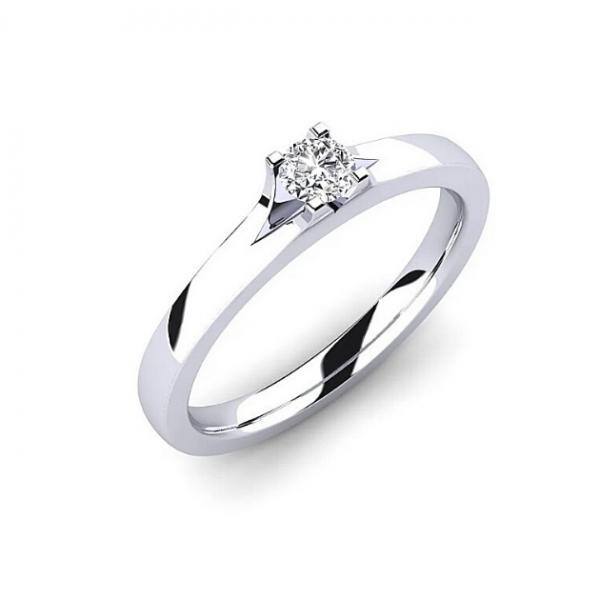 Златен годежен пръстен Amadeus  с един централен диамант, изчистен модел, нежен годежен пръстен,