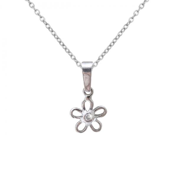Диамантена висулка във форма на нежно цвете от бяло злато.