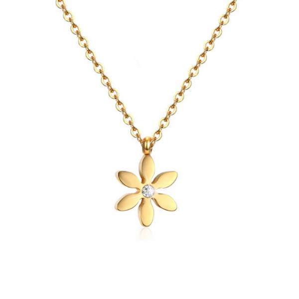 Диамантена висулка  - цвете, изработена от жълто злато с инкрустиран централен диамант.